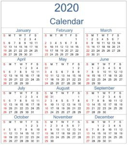 Free Download Yearly 2020 Calendar