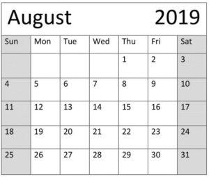 Free Printable August 2019 Calendar Decorative