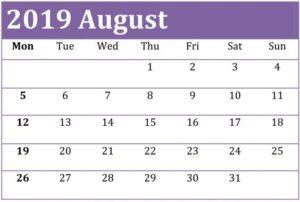 Free Printable August 2019 Calendar Desk