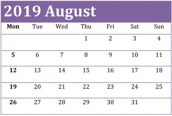 Free Printable August 2019 Calendar Blank Templates