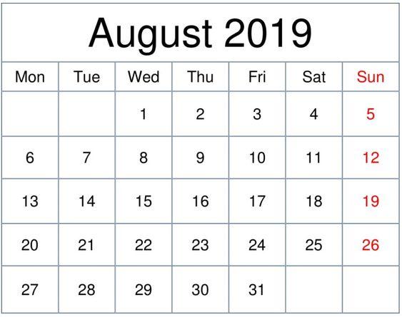 Free Printable August 2019 Calendar Download