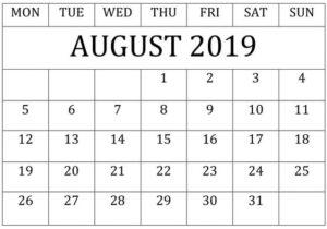 Free Printable August 2019 Calendar Editable