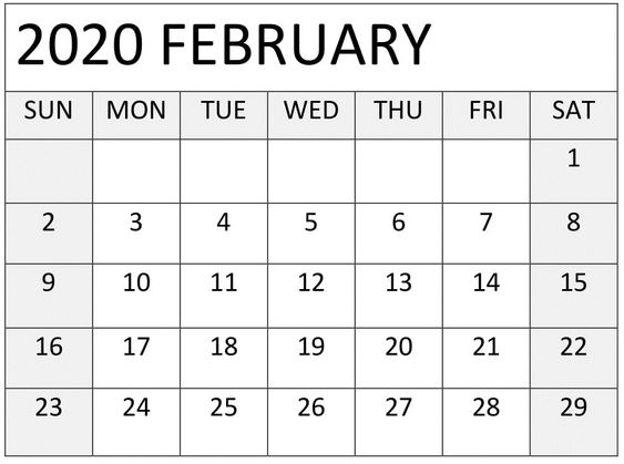 Free Printable February 2020 Calendar Floral