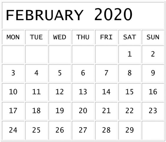 Free Printable February 2020 Calendar Monthly
