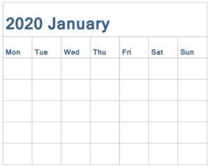 Free Printable January 2020 Calendar Monthly