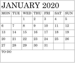 Free Printable January 2020 Calendar Template