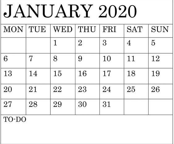 Free Printable January 2020 Calendar Word Template