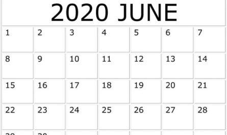 Free Printable June 2020 Calendar Blank