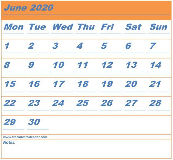 Free Printable June 2020 Calendar Download