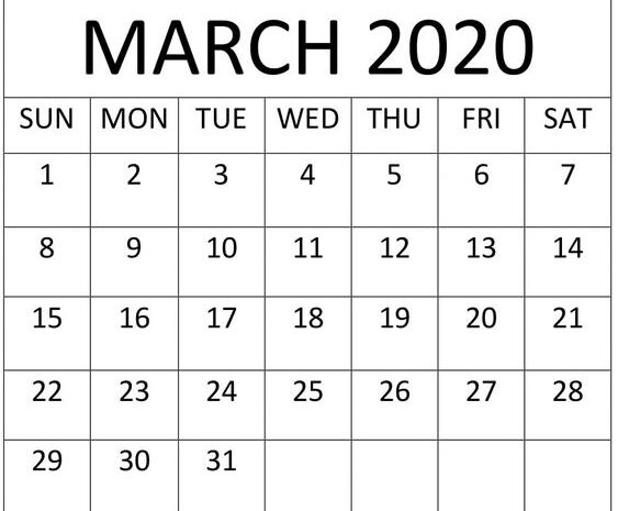 Free Printable March 2020 Calendar By Month Template