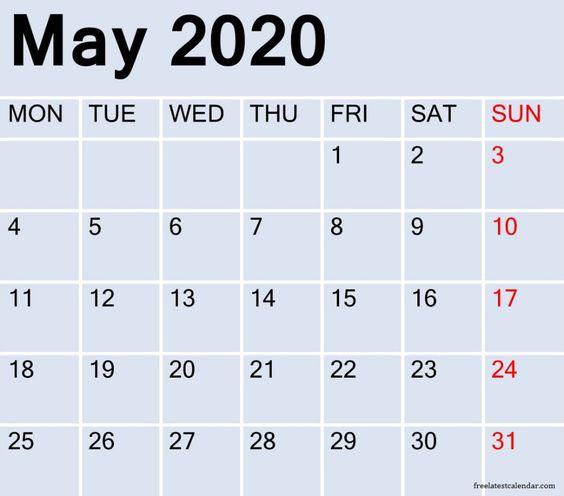 Free Printable May 2020 Calendar Download