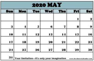 Free Printable May 2020 Calendar Pinterest