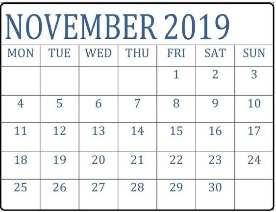 Free Printable November 2019 Calendar Excel