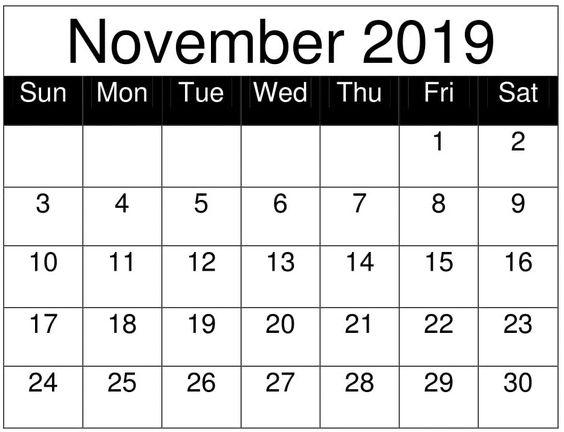 Free Printable November 2019 Calendar Planner Template