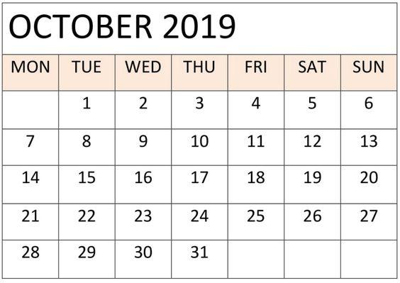 Free Printable October 2019 Calendar Blank Template