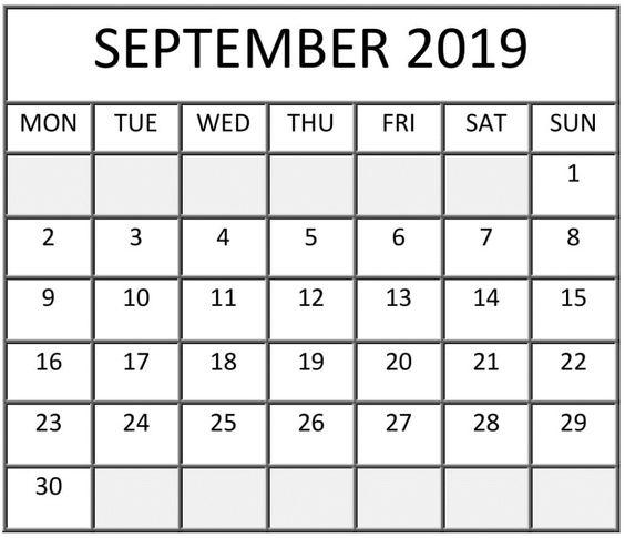 Free Printable September 2019 Calendar Landscape