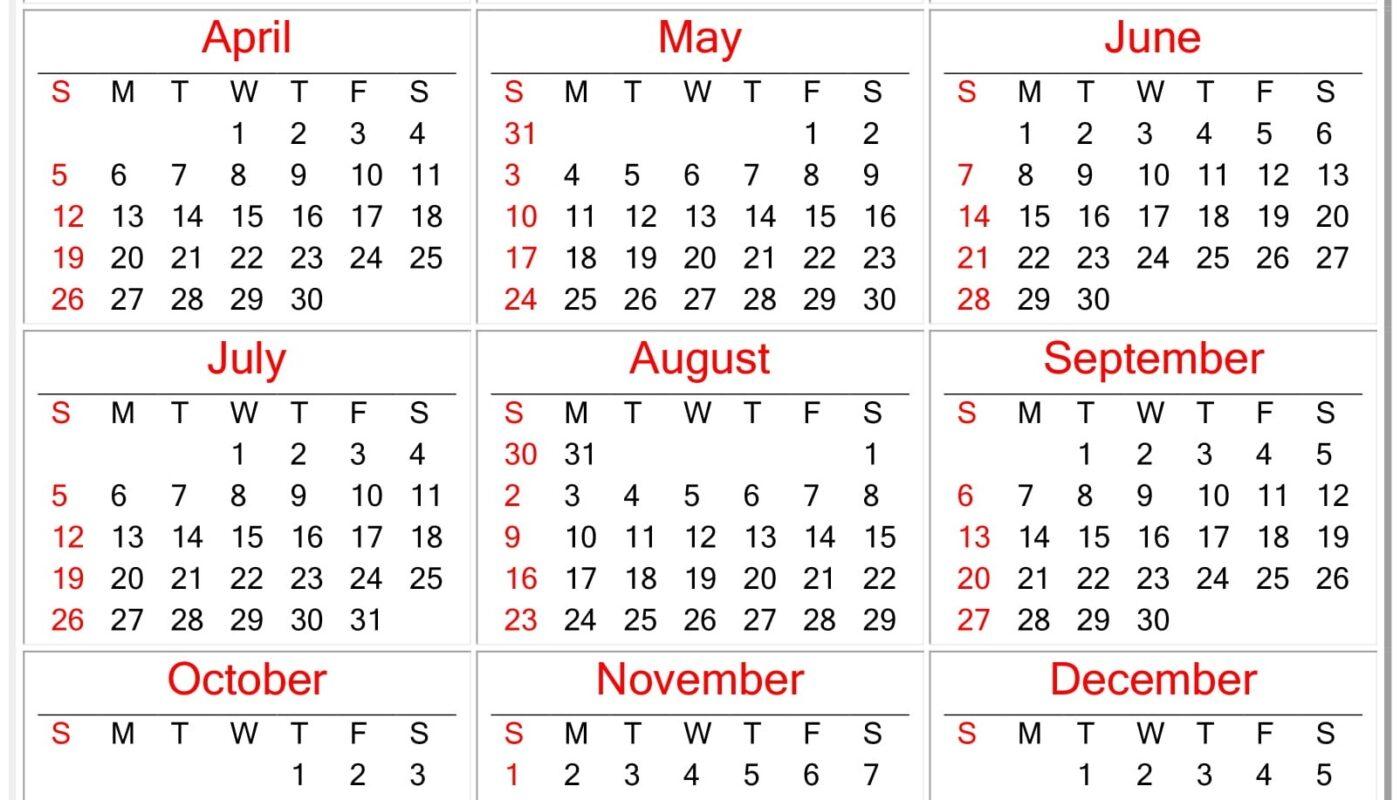 Free Printable Yearly 2020 Calendar