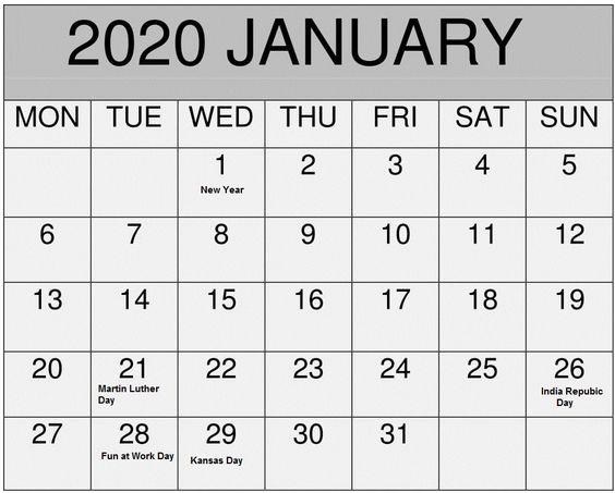 January 2020 Blank Calendar Desk