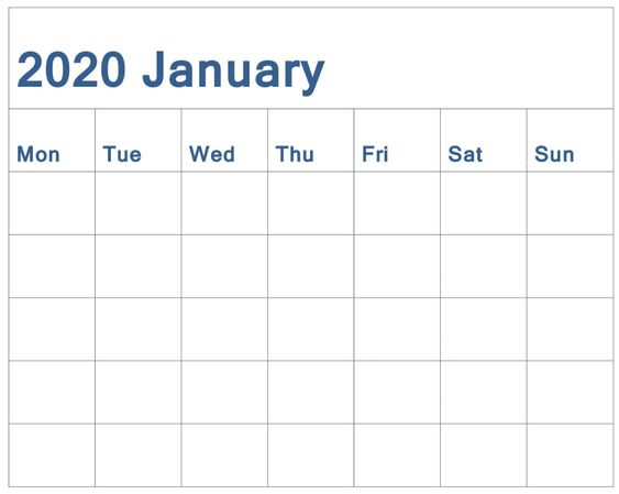 January 2020 Blank Calendar Free
