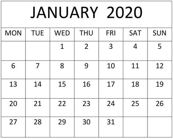 January 2020 Blank Calendar Print