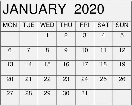 January 2020 Calendar Monthly