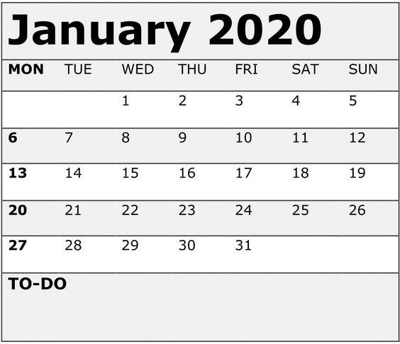January 2020 Calendar Print