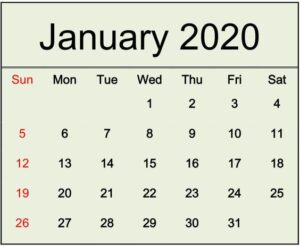 January 2020 Calendar Printable Free Download
