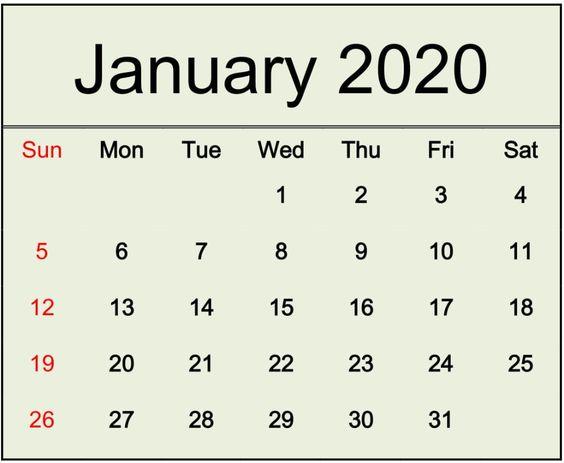 January 2020 Calendar Template PDF