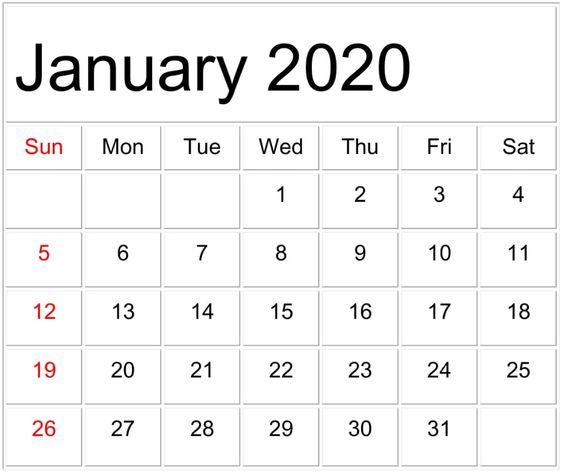 January 2020 Calendar Template Word