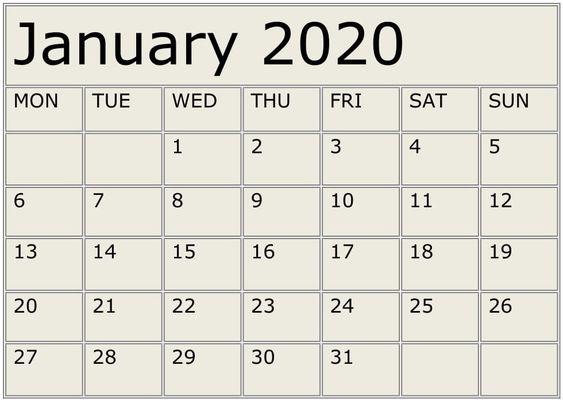 January 2020 Printable Calendar Editable