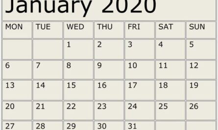 January Calendar 2020 Word, PDF, Excel