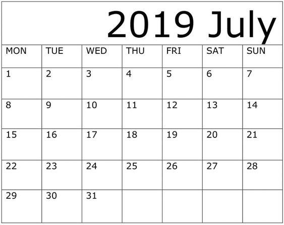July 2019 Calendar Desk