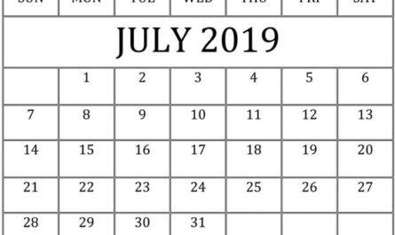 July 2019 Calendar Template Decorative
