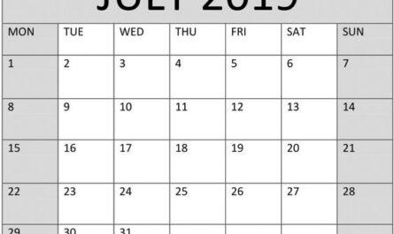 July 2019 Printable Calendar Template
