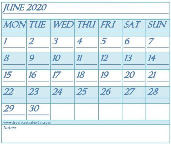 June 2020 Calendar Printable Monthly