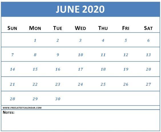 June 2020 Calendar Printable Weekly