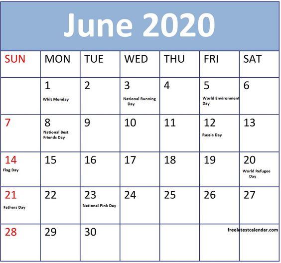 June 2020 Calendar Printable Word