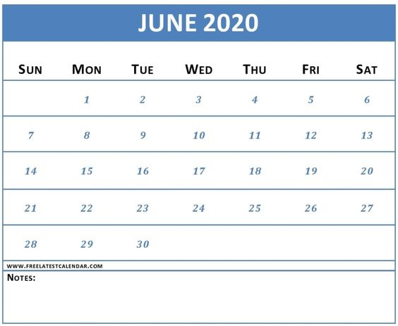 June 2020 Calendar Template Download