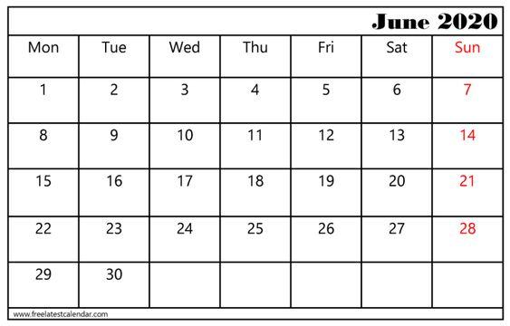 June Calendar 2020 Vertical