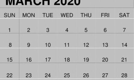 March 2020 Blank Calendar Weekly
