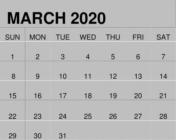 March 2020 Blank Calendar Free Download