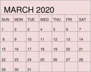 March 2020 Calendar Printable Colorfull