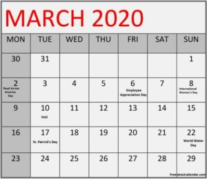 March 2020 Calendar Printable Holiday Notes