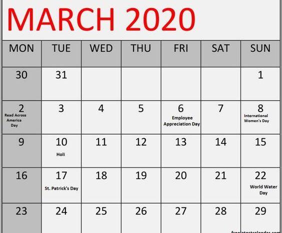 March 2020 Calendar Printable Free Blank Template