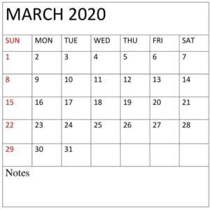 March 2020 Calendar With Holidays USA