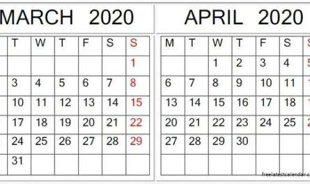 March April 2020 Calendar Printable
