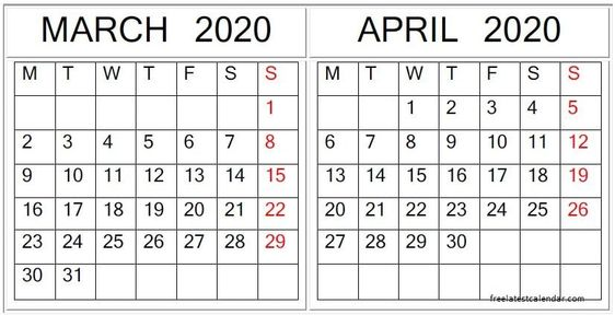 March April 2020 Calendar Excel, PDF Download