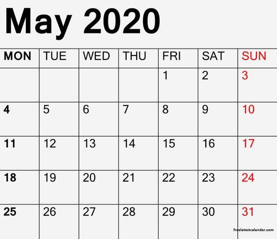 May 2020 Blank Calendar PDF