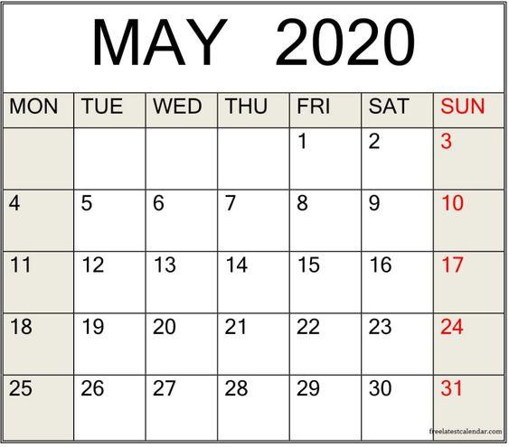 May 2020 Calendar Floral Template