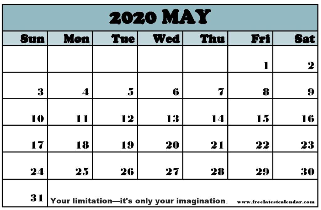 May 2020 Calendar Printable Landscape